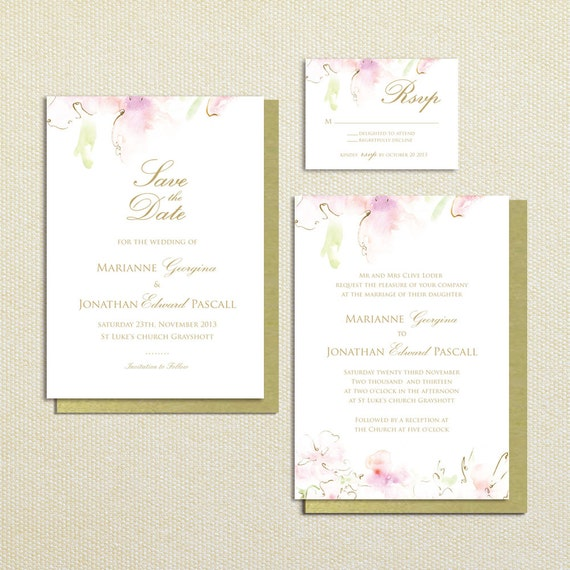 Watercolor wedding invitations, save the date, RSVP