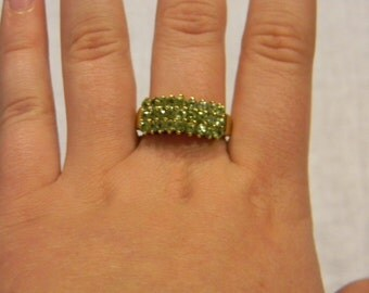 Awsome 925 Sterling Silver Beautiful Lime Green Stones On Vermeil Band Ring Size 9.25 #5143