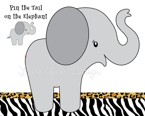 Pin The Tail On The Elephant Game Printable Digital Jpeg