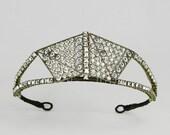 Medora - truly authentic Art Deco tiara made from an original 1920s filigree and rhinestone dress jewel