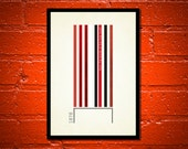 True Colours - 'Man Utd' A3 Football Print in red, white and black on ivory background.