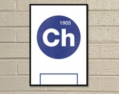 "Essential Elements: ""Chelsea"" A4 Football Print in blue and white."
