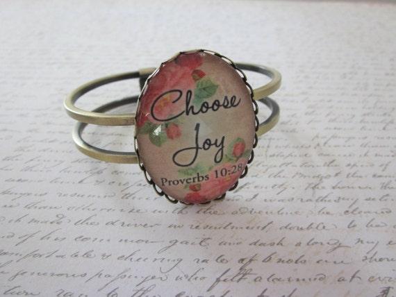Choose Joy Proverbs 10:28 Vintage Rose Glass Lace Hinge Bracelet Antique Brass