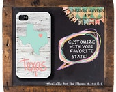 State Love Texas iPhone Case, Personalized iPhone Case,Fits iPhone 4, iPhone 4s & iPhone 5, iPhone 5c, iPhone 6, Phone Case