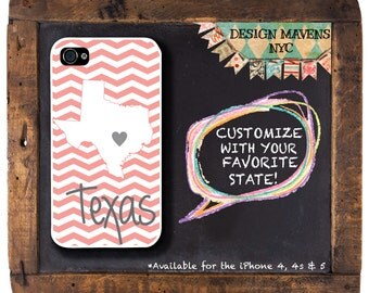 Texas iPhone Case, Coral Pink iPhone Case, Personalized iPhone Case, iPhone 7, 7 Plus, iPhone 6, 6s, 6 Plus, SE, iPhone 5, 5s, 5c, 4, 4s