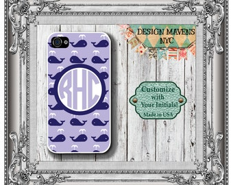Preppy Whale Monogram iPhone Case, Nautical iPhone Case, Personalized iPhone Case, iPhone 4, 4s, iPhone 5, 5s, 5c, iPhone 6, 6s, 6 Plus