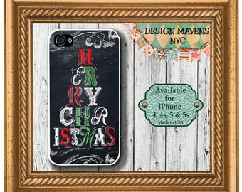Merry Christmas iPhone Case, Blackboard iPhone Case, Fits iPhone 4, iPhone 4s, iPhone 5, iPhone 5s, iPhone 5c, iPhone 6, Phone Cover