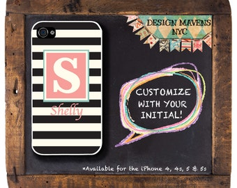 Preppy Stripe Phone Case, Personalized iPhone Case, Monogrammed iPhone, iPhone 4, iPhone 4s, iPhone 5, iPhone 5s, iPhone 5c, iPhone 6