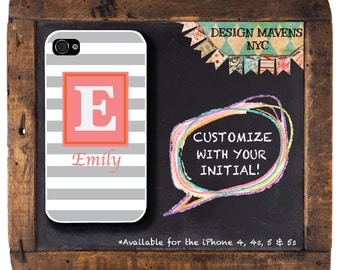 Rugby Stripe Phone Case, Personalized iPhone Case, Monogrammed iPhone, Fits iPhone 4, iPhone 4s, iPhone 5, iPhone 5s, iPhone 6, Phone Cover