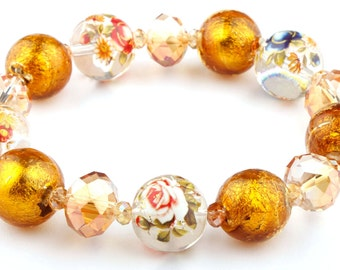 Gold Floral Murano Glass Beaded Stretch Fashion Bracelet