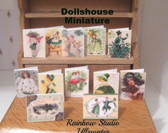 dollhouse  Cards  St Patricks Day x 12 victorian inspired miniature  12th scale lakeland artist new