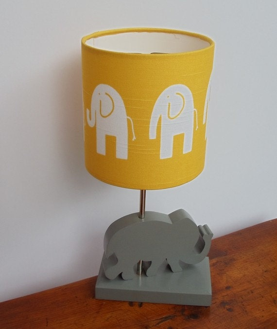 Handmade Yellow White Elephant Drum Lamp Shade Great For
