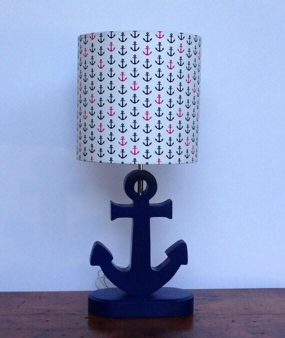 Small Handmade Anchor Nautical Drum Lamp Shade Navy Bue And