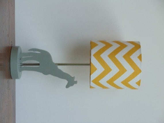 Small Yellow/White Chevron Drum Lamp Shade Nursery or