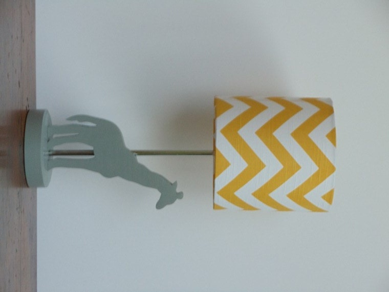 small yellow white chevron drum lamp shade nursery or. Black Bedroom Furniture Sets. Home Design Ideas