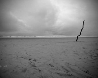 black and white photo - minimalist photograph - oregon photograph - seascape photography - sandy beach - pacific ocean photograph - zen