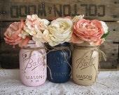 SALE!!! Set of 3 Pint Mason Jars, Painted Mason Jars, Baby Shower Decorations, Navy blue, pink and tan Mason Jars