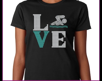 Love Square Swim Rhinestone t-shirt