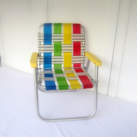 Vintage Folding Lawn Chair Child Size Primary Colors Small