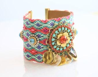 Friendship Bracelet,Coachella,Wide Friendship cuff,OOAK,Statement jewelry,Swarovski bracelet,bohemian indian gypsy,Ethnic boho