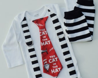 Red Cat In The Hat Tie T Shirt With Suspenders with Leg Warmers Sizes  0-3 mo, 3-6 mo, 6-12 mo, 18 mo, 24mo, 2t, 3t, 4t, 5/6