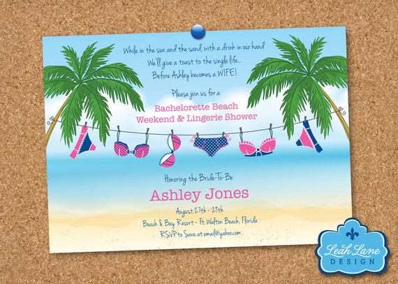 Bachelorette Party Lingerie Shower Beach Theme