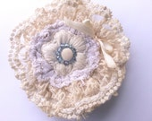 Clearance Rustic mori girl Accessory Ecru Shabby Chic Brooch Tea Stained Lace