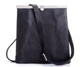 Leather Cross Body Bag, Black Small Leather Bag, Crossbody Purse, Small Handbag
