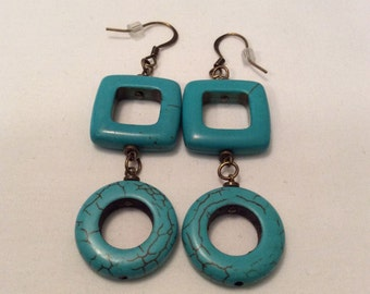 Turquoise & Antique Brass Earrings