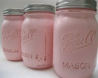 Mason Jars, Pink mason jars, mason jar set, flower vases, farmhouse decor, mason jar decor, painted mason jars, shabby chic, wedding decor