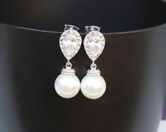 zirconia post pearl earrings bridal pearl earring  pearl drop earring  white pearl earring  bridesmaid pearl earring