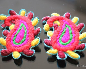 Paisley Applique Patch Red, Fuchsia, Yellow and Green x 2