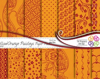 Paisley Digital Paper Pack , Paisley Digital Scrapbooking Paper Pack  Yellow Orange - Commercial Use ,Instant Download