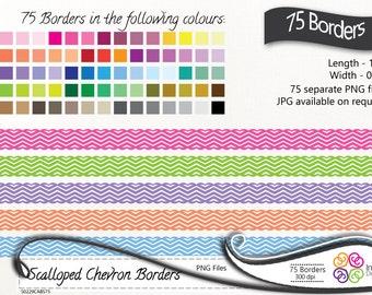 Digital Borders 75 Chevron Scalloped Clip art, Chevron Borders, Scalloped borders ,instant download, commercial use