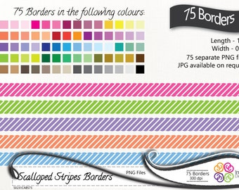 Digital Borders 75 Stripes Scalloped Clip art, Stripes Borders, Scalloped borders ,instant download, commercial use
