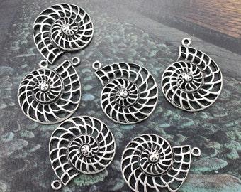 5 Spiral Shell Charms Nautilus Charms Antiqued Tibetan Silver 28 x 35 mm