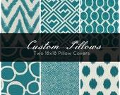Two 18x18 Decorative Throw Pillows - Throw Pillow - Pillow Cover - Pillow Case - Teal Pillow - Green Pillow - Chevron Pillow - Ikat Pillow