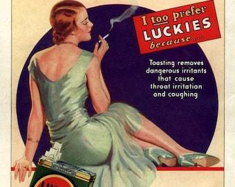 Art Print Lucky Strike Cigarettes Advert Print 1930 8 x 10