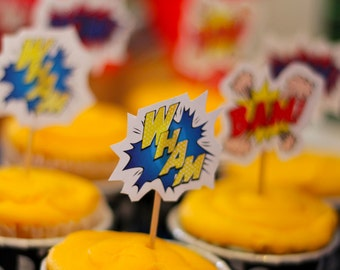 Super Hero / Comic Book Cup Cake toppers or Badges