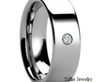 18K White Gold Wedding Band Ring with Diamond 7mm Wide  Sizes 4-12  Free Engraving  New