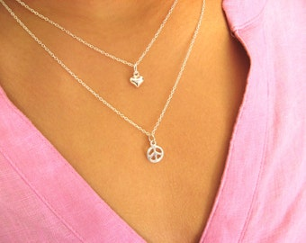 Peace & Love - Dainty Peace and Love Necklaces -  multi strand necklace - minimalist - piece necklace - love necklace - Sterling Silver