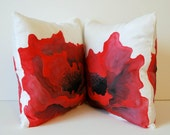 Two Red poppy red and grey handpainted 16x16 silk throw pillow covers Made to Order