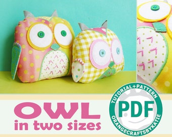 Owls toys / two sizes / PDF sewing tutorial and patterns