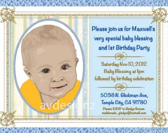 Personalized baptism invitation baby boy baptism christening blessing