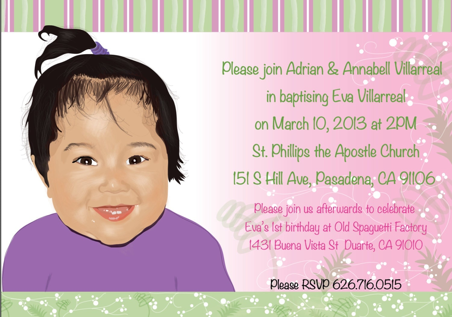 Personalized Baptism Invitation Baby Girl Baptism/Christening