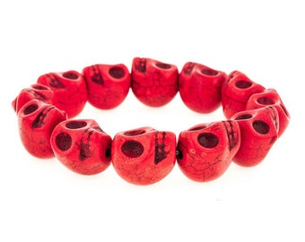 Day of the Dead Jewelry Howlite Skull Bracelet-Red (Large Skulls)