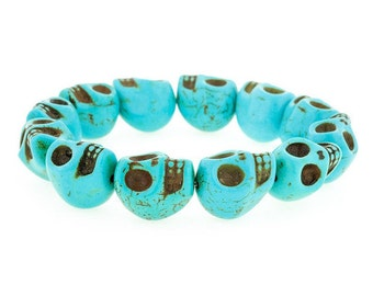 Day of the Dead Jewelry Howlite Skull Bracelet-Turquoise (Large Skulls)
