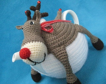 Rudolph the red nosed reindeer teacosy tea cosy crochet pattern pdf