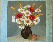"""Arras """"Summer"""", Embroidered Hand, technique, """"Silk ribbon embroidery"""",ribbonwork,poppies"""