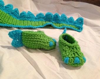 Crocheted Baby Dinosaur Hat & Booties